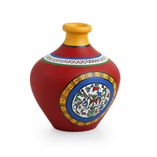 Load image into Gallery viewer, Terracotta Handpainted Warli Vase Matki Neck Red 6 Inch