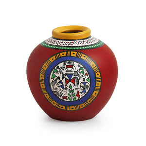 Terracotta Handpainted Warli Vase Matki Red 6 Inch