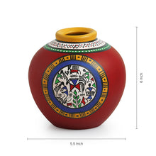 Load image into Gallery viewer, Terracotta Handpainted Warli Vase Matki Red 6 Inch