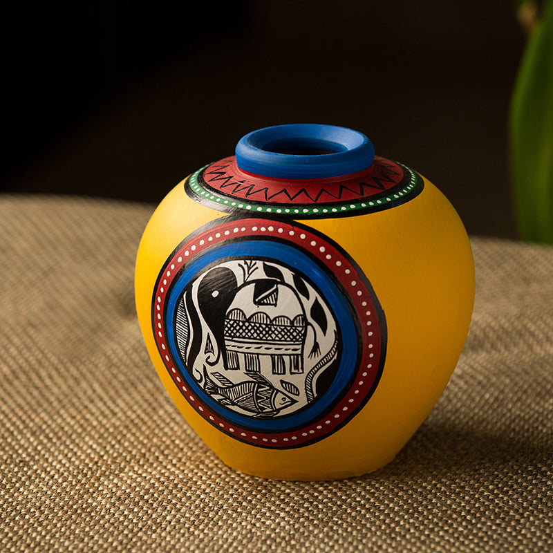 Terracotta Handpainted Warli Vase Matki Yellow 6 Inch