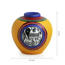 Load image into Gallery viewer, Terracotta Handpainted Warli Vase Matki Yellow 6 Inch