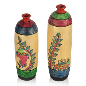 Madhubani Handpainted Bottle Shape Terracotta Vase Set