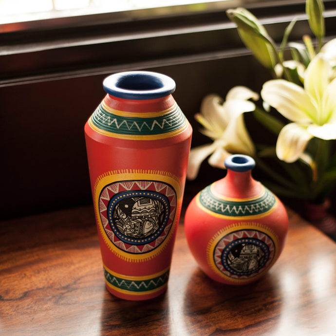 Madhubani Handpainted Terracotta Vase Set In Bright Orange