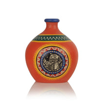 Load image into Gallery viewer, Madhubani Handpainted Terracotta Vase Set In Bright Orange