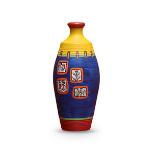 'Warli In Frames' Elongated Neck Tapered Terracotta Vase (6 Inch)