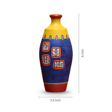 Load image into Gallery viewer, 'Warli In Frames' Elongated Neck Tapered Terracotta Vase (6 Inch)