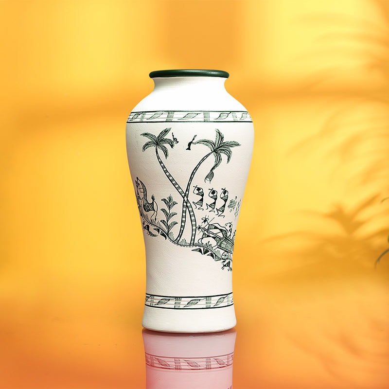 'Tribal Serenity' Tapered Terracotta Vase With Warli Hand-Painting (8 Inch)