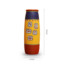 Load image into Gallery viewer, 'Warli In Frames' Elongated Tumbler Shaped Terracotta Vase (8 Inch)