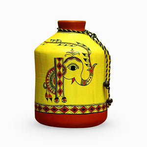 'A Madhubani Morning' Bottle Shaped Terracotta Vase (8 Inch)