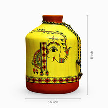 Load image into Gallery viewer, 'A Madhubani Morning' Bottle Shaped Terracotta Vase (8 Inch)