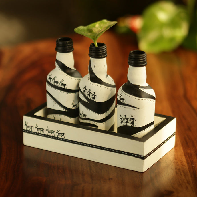 'The Warli Village' Hand-Painted Decorative Money Planter Bottles With Wooden Tray