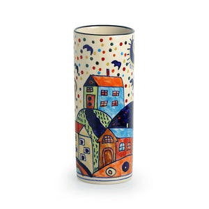 'The Hut Straight' Hand-Painted Ceramic Vase (8 Inch)