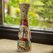 Load image into Gallery viewer, 'The Hut Long-Neck' Hand-Painted Ceramic Vase (12 Inch)