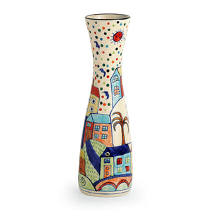 'The Hut Long-Neck' Hand-Painted Ceramic Vase (12 Inch)
