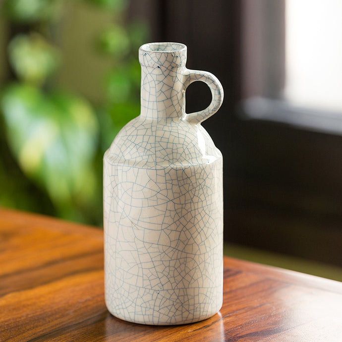 The 'Crackled Finish' Studio Pottery Decorative Ceramic Vase (9 Inches)