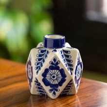 Load image into Gallery viewer, The 'Starry Bloom' Mughal Hand-Painted Ink Blue Decorative Ceramic Vase (5 Inch)