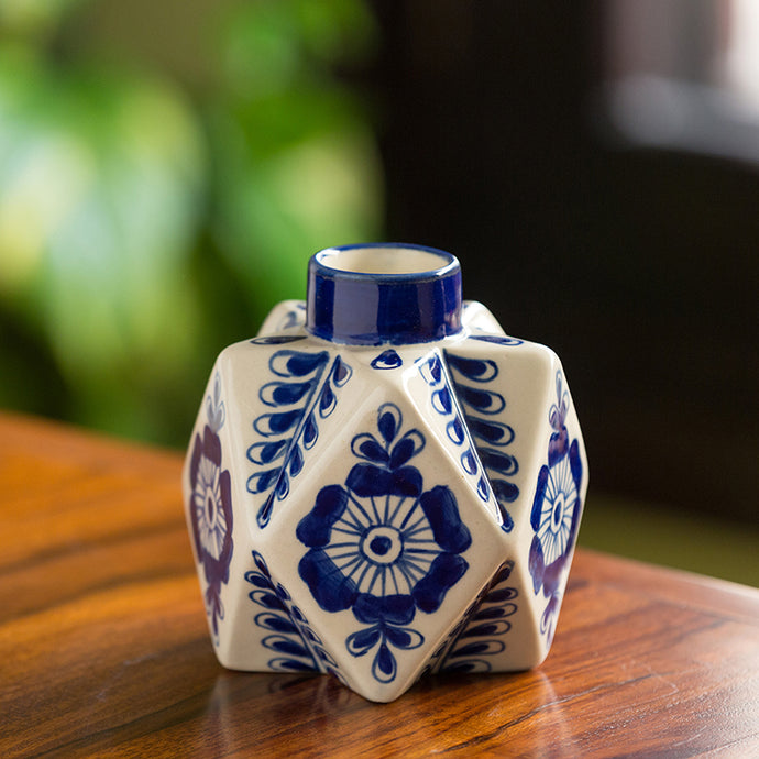 The 'Starry Bloom' Mughal Hand-Painted Ink Blue Decorative Ceramic Vase (5 Inch)
