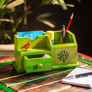 Wooden Multipurpose Table Organiser With Tree Carving and Parrot