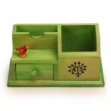 Load image into Gallery viewer, Wooden Multipurpose Table Organiser With Tree Carving and Parrot