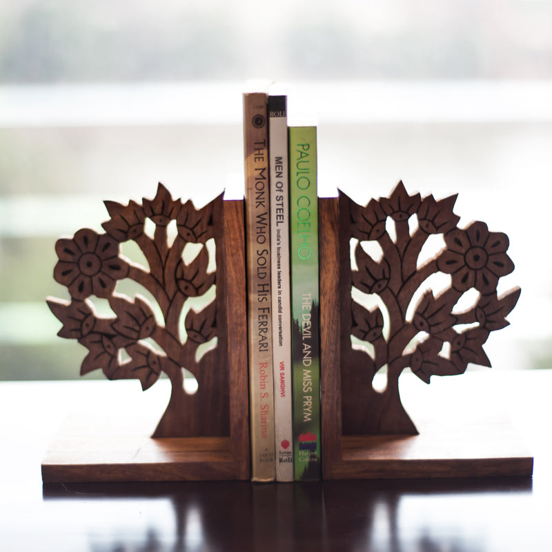 Wooden Engraved & Carved Tree Of Life Book End