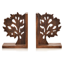 Load image into Gallery viewer, Wooden Engraved & Carved Tree Of Life Book End