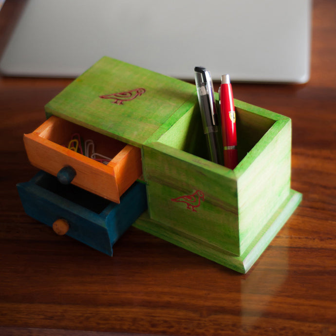 Multicoloured Wooden Parrot Table Organiser