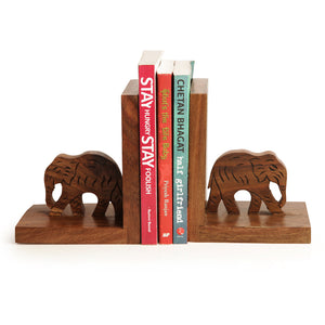 Elephant Book End With Hand Carving