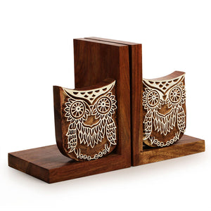 Hand Engraved Owl Book End