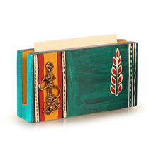 Load image into Gallery viewer, Ocean Blue Handpainted Wooden Business Card Holder With Dhokra Art