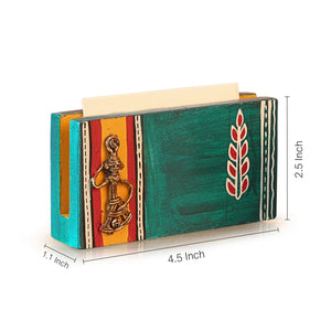 Ocean Blue Handpainted Wooden Business Card Holder With Dhokra Art