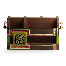 Load image into Gallery viewer, 'Dhokr-A-Rrange' Hand-Painted  Wooden Table Organiser With Brass Figurines