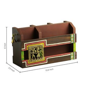 'Dhokr-A-Rrange' Hand-Painted  Wooden Table Organiser With Brass Figurines