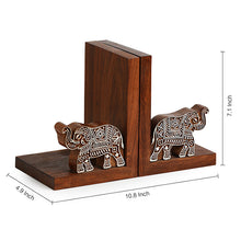 Load image into Gallery viewer, 'Elephants' Trunk Up' Hand Carved Book End In Sheesham Wood