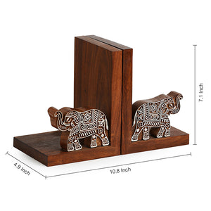 'Elephants' Trunk Up' Hand Carved Book End In Sheesham Wood