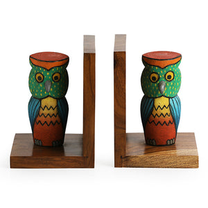 'Standing Owls' Handmade Book End In Sheesham Wood