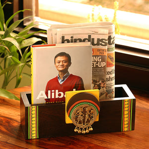 Teak Wood Wall Cum Table Magazine & Newspaper Stand With Dhokra Art