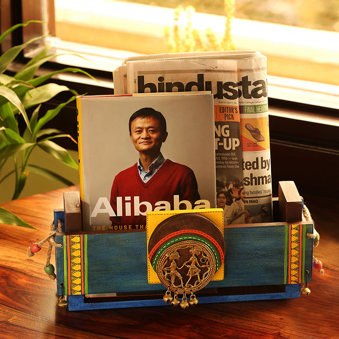 Turquoise Blue Wooden Magazine & Newspaper Stand With Dhokra Art