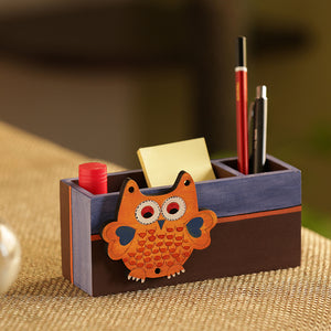 'Owl Motif' Stationery Cum Cutlery Holder In Wood (2 Partitions)