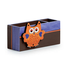 Load image into Gallery viewer, 'Owl Motif' Stationery Cum Cutlery Holder In Wood (2 Partitions)
