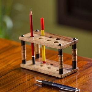 Cane Handwoven Pen Holder In Sheesham Wood & Iron