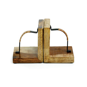 Cane Handwoven Bookends In Sheesham Wood & Iron