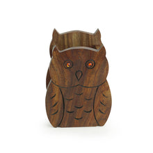Load image into Gallery viewer, 'The Two Hooting Owls' Table Organiser With Hand Carved Owl Motif In Sheesham Wood