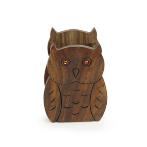 'The Two Hooting Owls' Table Organiser With Hand Carved Owl Motif In Sheesham Wood