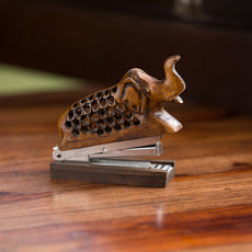 'The Victorious Elephant' Hand Carved & Hand Painted Stapler Cum Showpiece In Cedar Wood