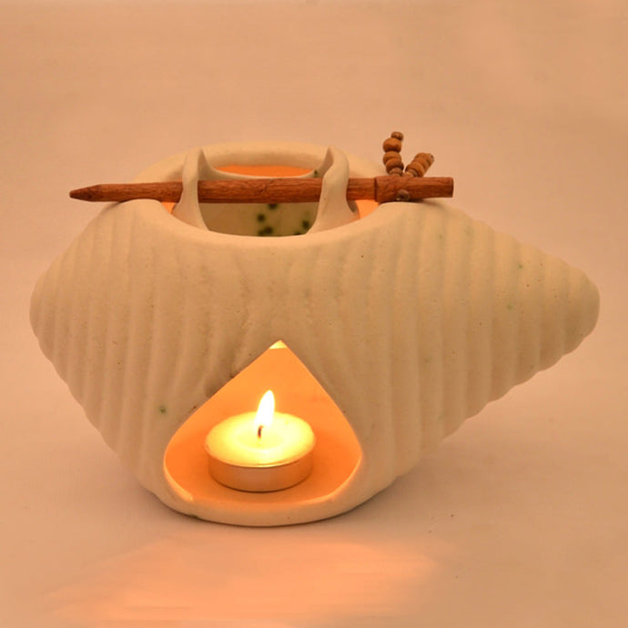 Ceramic Oil Burner In White