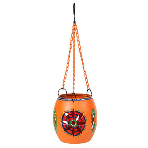Handpainted Metal Hanging Tea Light Orange
