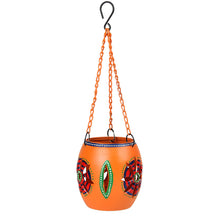 Load image into Gallery viewer, Handpainted Metal Hanging Tea Light Orange