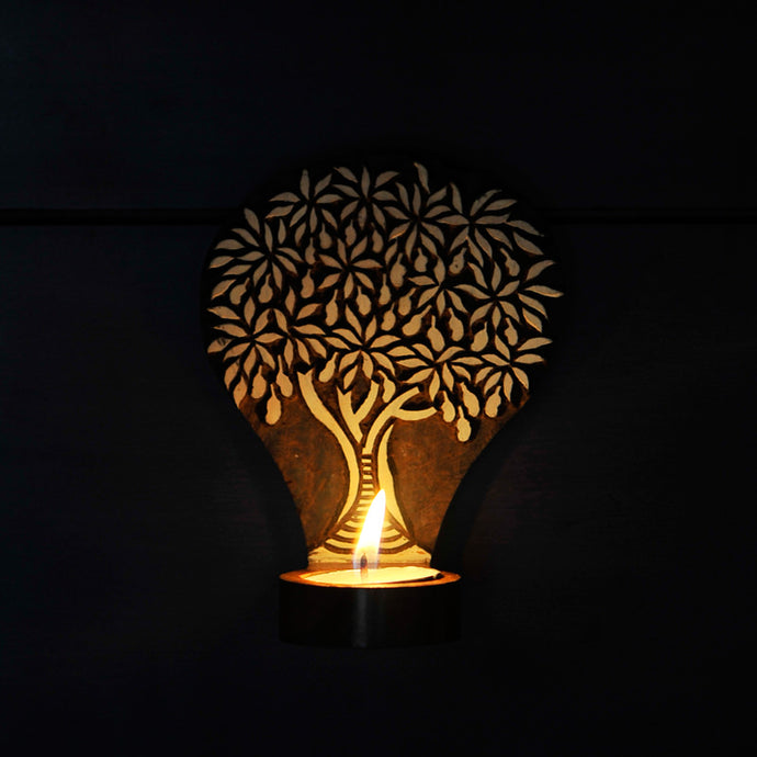 Tree Of Life Wooden Engraved Table Cum Wall Tealight Holder
