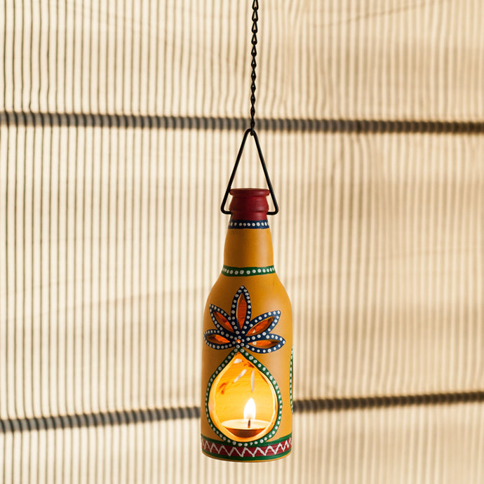 Hanging Bottle Shaped Handapinted Terracotta Tea Light Holder