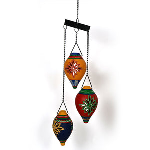Terracotta Handpainted Multicolored Hanging Shankh Tea Light Set Of 3
